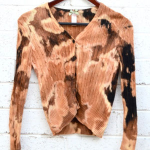 Tie Dye Cardigan Sweater Brown Cable Knit Girls